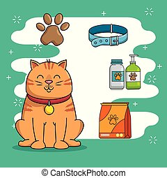 mascota, tienda, conjunto, iconos