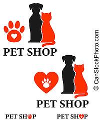 mascota, tienda, icono
