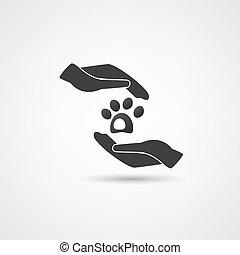 mascota, vector, cuidado