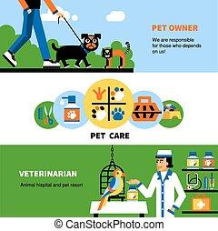 mascota, veterinario, veterinario, banderas