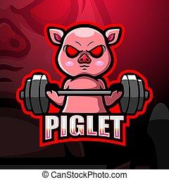 mascota, weightlifting, diseño, logotipo, cerdito, esport