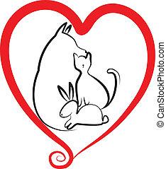 mascotas, y, corazón, logotipo