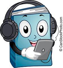 mascote, áudio, livro, tabuleta, leitura