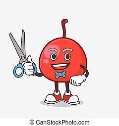 mascote, barbeiro, mão, vermelho, personagem, sorrindo, tesouras, baga, caricatura