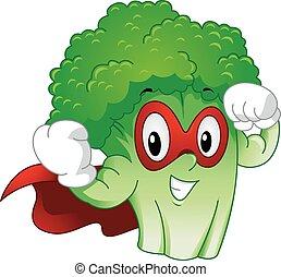 mascote, brócolos, forte, superhero