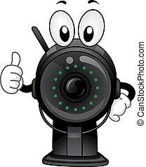 mascote, câmera, polegares cima, vigilância