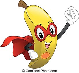 mascote, caped, banana, superfood