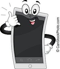 mascote, cellphone chamam, mim, gesto