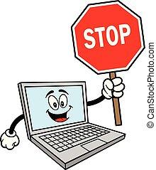 mascote, computador, sinal parada