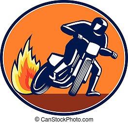 mascote, correndo, oval, motorcyle, trilha sujeira