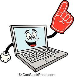mascote, espuma, computador, mão