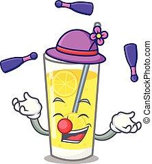 mascote, estilo, limonada, caricatura, juggling