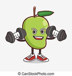 mascote, exercício aptidão, fruta, caricatura, barbells, personagem, manga, tentando