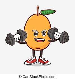 mascote, exercício aptidão, fruta, caricatura, loquat, barbells, personagem, tentando