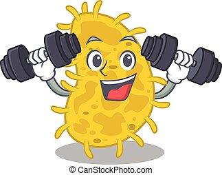 mascote, exercício, barbells, sorrindo, bactérias, condicão física, desenho, spirilla, cima, elevador