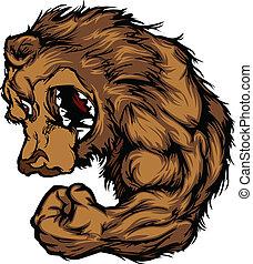 mascote, flexionar, caricatura, urso, braço