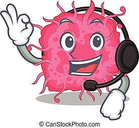 mascote, fone, deslumbrante, conceito, bactérias, personagem, desgastar, pathogenic