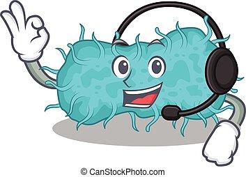mascote, fone, deslumbrante, conceito, bactérias, personagem, desgastar, prokaryote