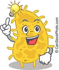 mascote, gesto, bactérias, idéia, personagem, desenho, spirilla, esperto, tem