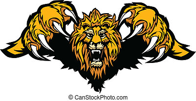 mascote, gráfico, vetorial, leão, pouncing