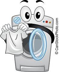 mascote, lavadora roupa, manuseio, um, limpo, camisa branca