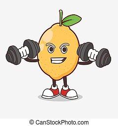 mascote, limão, barbells, fruta, caricatura, exercício, tentando, personagem, condicão física