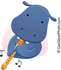 mascote, música, hipopótamo, flauta