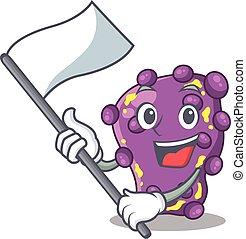 mascote, nacionalista, shigella, personagem, desenho, bandeira