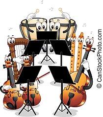 mascote, orquestra, instrumentos