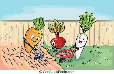 mascote, raiz, colheitas, solo, preparação, ilustração
