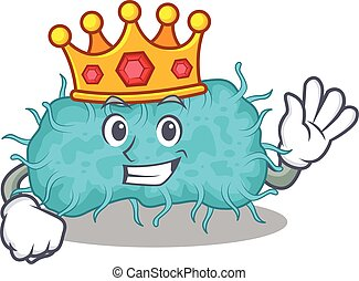 mascote, sábio, prokaryote, rei, bactérias, desenho, estilo