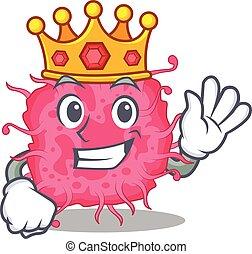 mascote, sábio, rei, bactérias, desenho, estilo, pathogenic