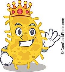 mascote, sábio, rei, bactérias, desenho, spirilla, estilo