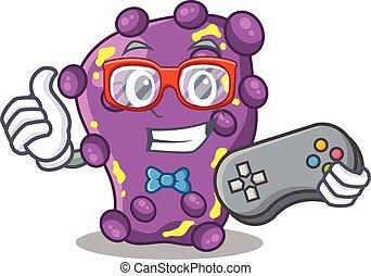 mascote, shigella, controlador, conceito, desenho, usando, gamer