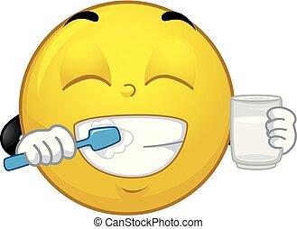 mascote, smiley, escova, ilustração, dentes
