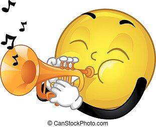 mascote, smiley, trompete, ilustração