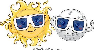 mascote, sol, lua, eclipse solar, óculos