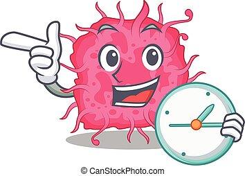 mascote, sorrindo, conceito, bactérias, desenho, relógio, pathogenic