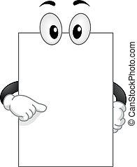 mascote, tábua, em branco, googly, olhos, apontar, próprio