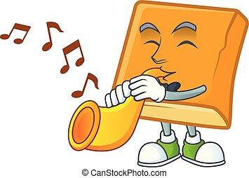 mascote, trompete, cornbread, fundo, branca