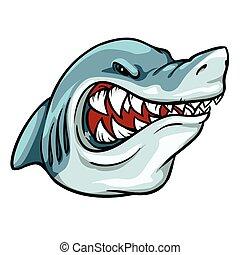 mascote, tubarão, etiqueta, equipe, design.