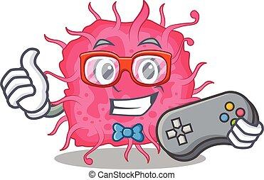 mascote, usando, conceito, bactérias, desenho, controlador, pathogenic, gamer