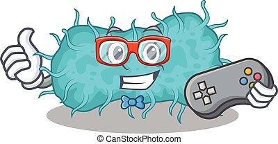 mascote, usando, conceito, bactérias, desenho, prokaryote, controlador, gamer