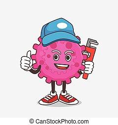 mascote, vírus, cor-de-rosa, personagem, caricatura, feliz, encanador