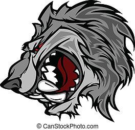 mascote, vetorial, lobo, caricatura, sna
