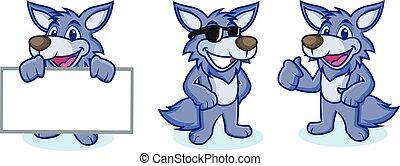 mascote, vetorial, lobo, feliz