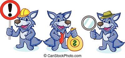 mascote, vetorial, lobo, sinal