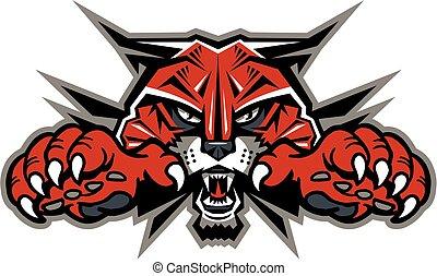 mascote, wildcat, cabeça