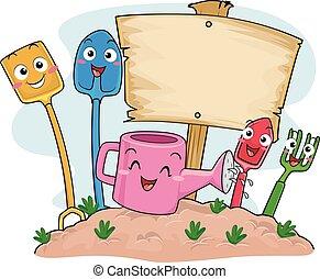 mascotes, ferramentas, tábua, ilustração, jardim