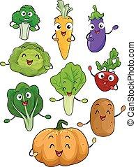 Mascots Vegetables Illustration